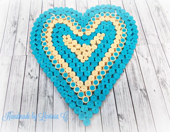 Blue Quilling heartBlue Heart home decor  by HandmadeByLaviniaC