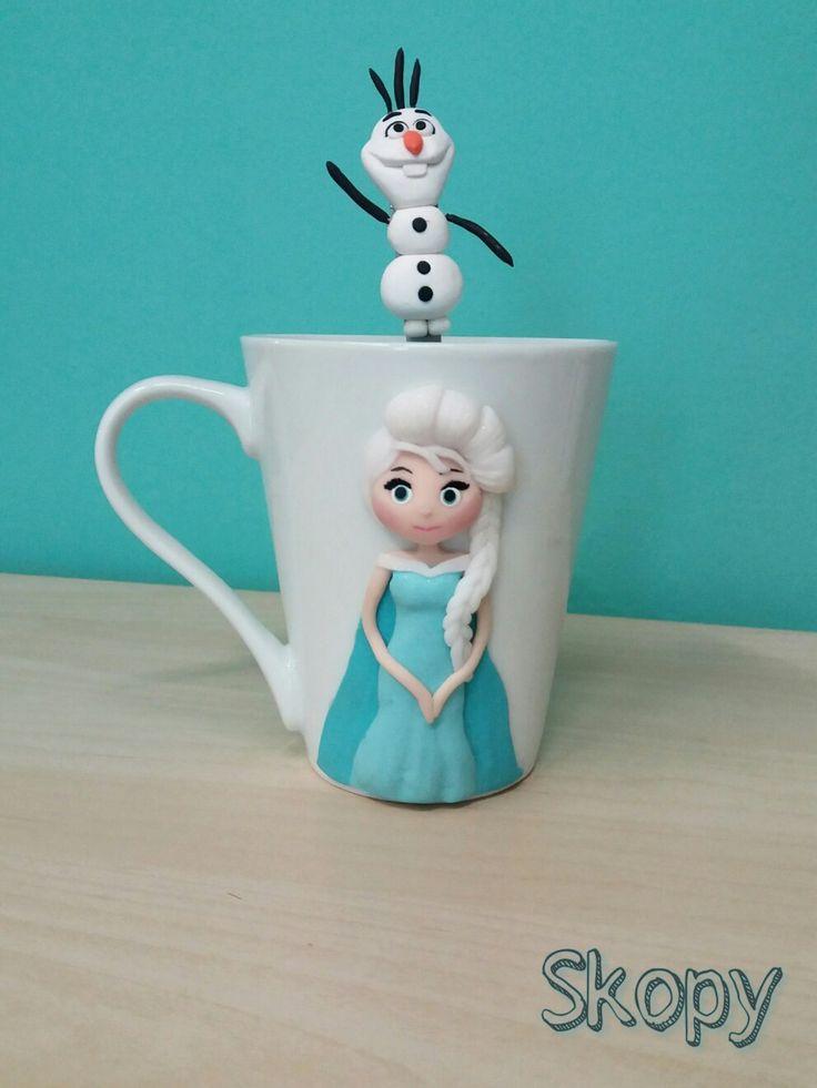 Princess Elsa and Olaf polymer clay mug
