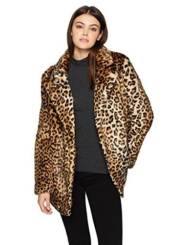 J.O.A. JOA Women s Leopard Print Faux Fur Coat  d87a169d9