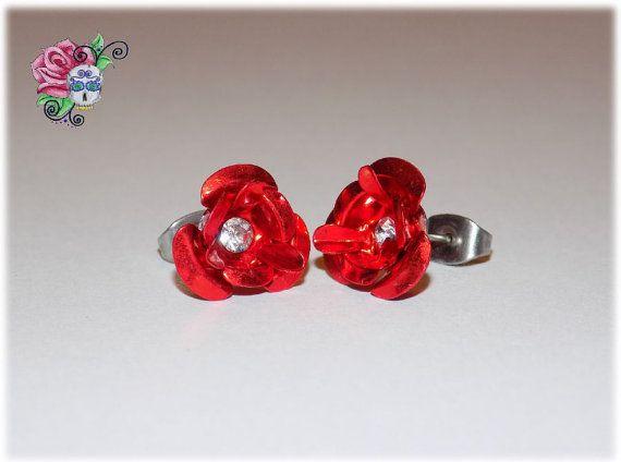 2 paires de Boucles d'oreilles Fleurs Rose par ValniDesignsJewelry
