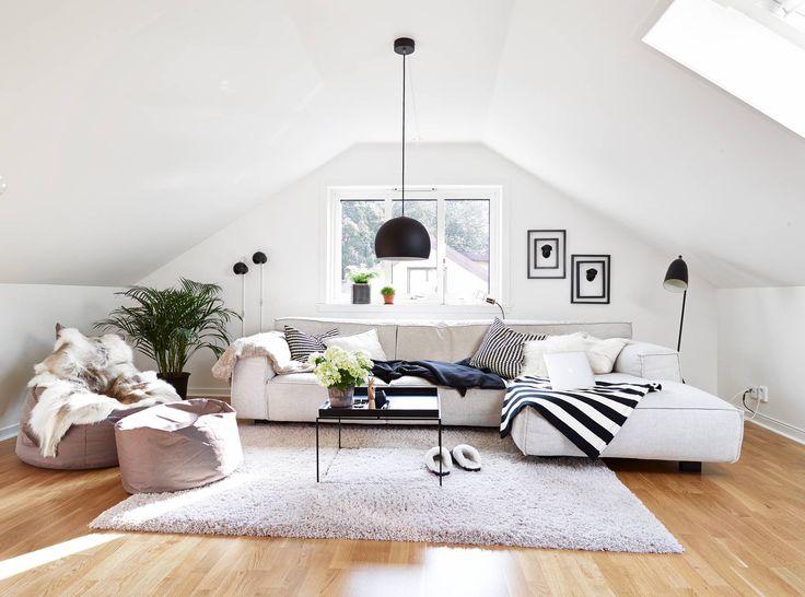 Scandinavian attic living room :: #Scandinavian #design #attic