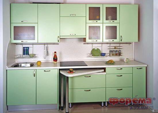 кухонный гарнитур с выдвижным столом - фото