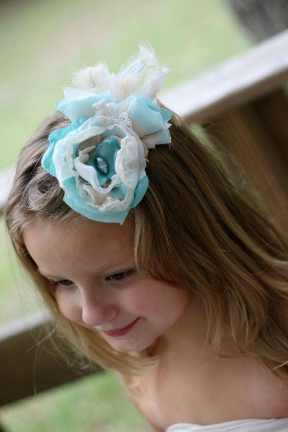vintage blue wedding flower hair piece ivory by sunshowerflowers #etsy #somethingblue #weddinghair #wedding #weddingdecor #upcycled #vintage #shabbychic #flowergirl #flower