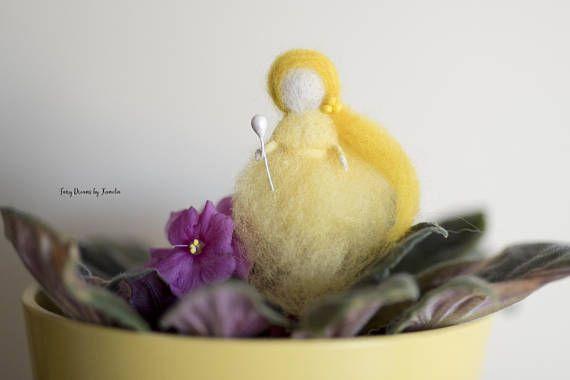 Mini yellow fairy, princess doll house, Waldofr inspired, needle felted https://www.etsy.com/listing/578040795/yellow-felted-fairy-waldorf-inspired