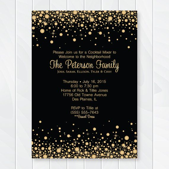 Gold and Black Confetti Cocktail Party Invitation - Welcome to the Neighborhood…