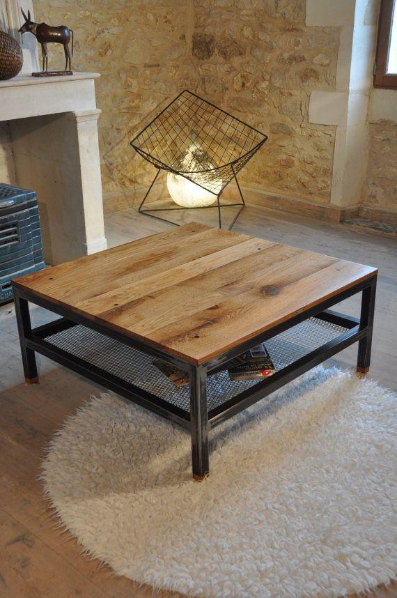 Table basse au style industriel en métal et chêne par mlkmobilier