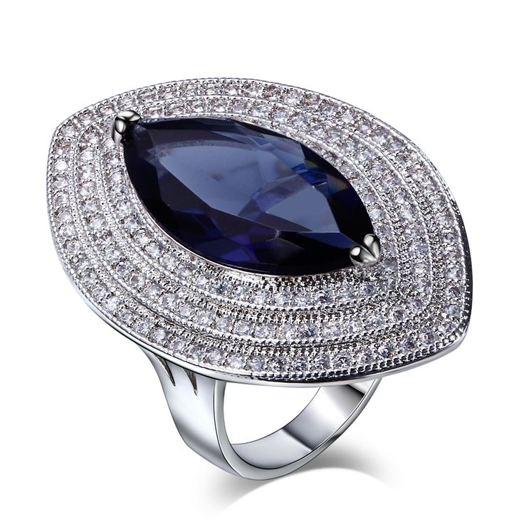 Women 6 Colors Rings Synthetic Cubic Zirconia Prong Setting Horse Eye Rhodium or Gold-color vrouwen ringen Sizes 6 to 9