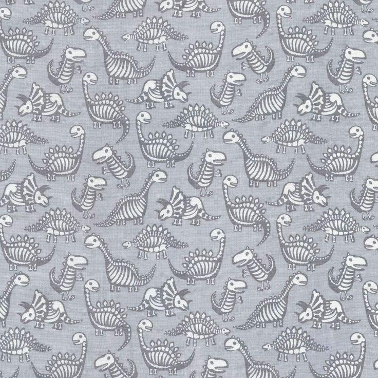 Dinosaur Skeletons fabric (sold by the half yard) – Shiny Happy World