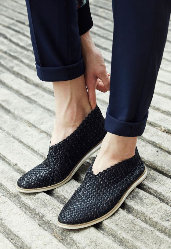 woven shoes. Love these. Could take the place of black menswear type loafers in an outfit.