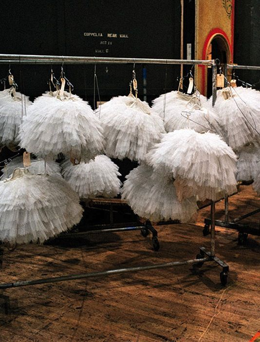A rack of frothy tutus backstage at NYC's American Ballet Theatre