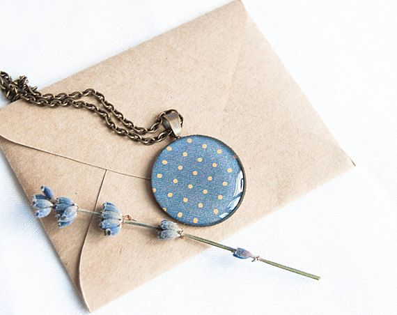 LOVE....  Polka dot necklace blue pendant by Lepun on Etsy, $18.00