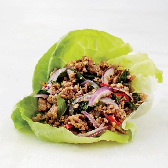 Pork Larb Lettuce Wrap // More Delicious Pork Recipes: http://www.foodandwine.com/slideshows/fast-pork-recipes #foodandwine