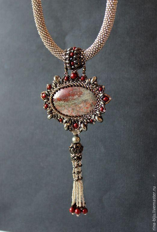 """Купить Кулон """"Марсала"""" с яшмой в пирите. - кулон, яшма натуральная, пирит, жгут вязанный из бисера  Bead embroidery"""