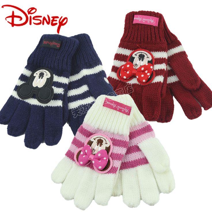 disney подлинный ребенок шерстяной перчатки микки ребенок пальцы теплый перчатки минни осень и зима вязание перчатки