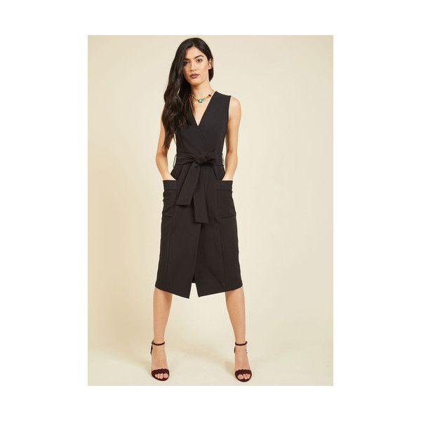 Closet London Minimal Sleeveless Shirt Dress Tough Tact to Follow Midi... (105 AUD) ❤ liked on Polyvore featuring dresses, apparel, black, fashion dress, pocket dress, midi wrap dress, sleeveless midi dress, zip back dress and sash belt