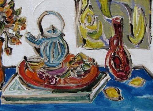 """Blue Table  and  Teapot"" - Original Fine Art © Kristin Gibson  http://www.fineartandfabric.com"