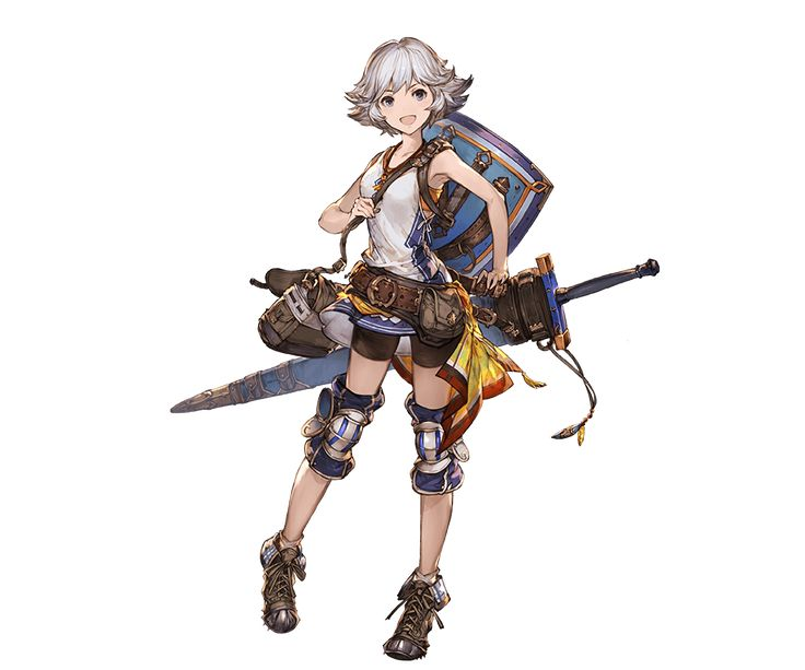 1girl bag belt dress farrah_(granblue_fantasy) full_body granblue_fantasy grey_eyes jewelry knee_pads looking_at_viewer minaba_hideo necklace open_mouth shield shoes short_dress short_hair shorts simple_background sleeveless smile solo standing transparent_background weapon white_hair
