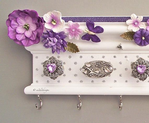 """Purple Flower Organizer Girl 12"""", Baby Headband Holder, Baby Girl Nursery Decor, Easter Gift Daughter, Hair Bow Hanger"""