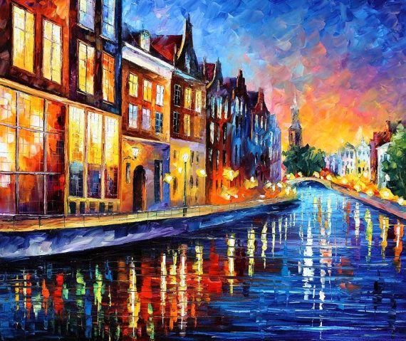 Amsterdam, Sunday Night — PALETTE KNIFE Oil Painting on Canvas by AfremovArtStudio, $319.00