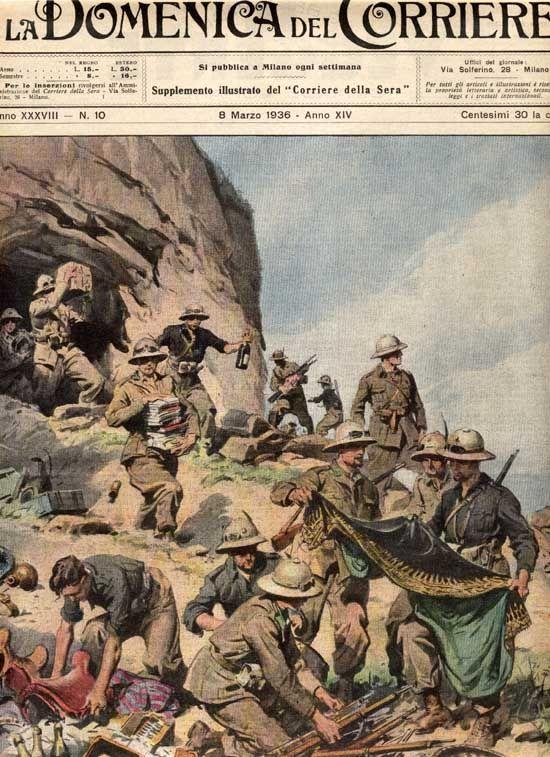 Foto sttimanale sul giornale 'La Domenica del Corriere'. Illustra i soldati italiani al fronte.