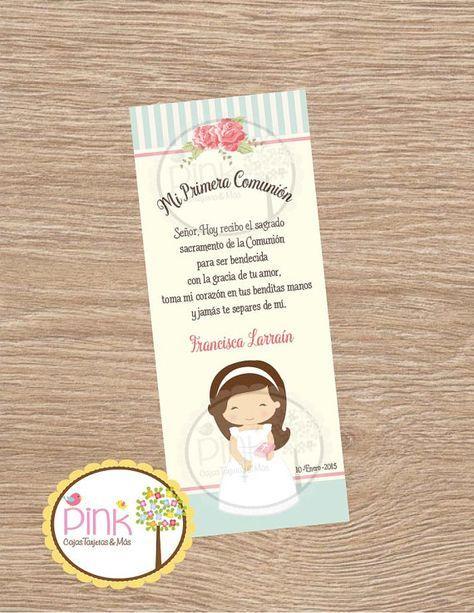 First Communion Favor Cards • Bookmark • Baptism Girl • Recuerdo de Primer…