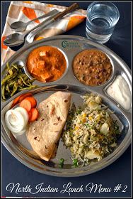 North Indian Lunch Menu 2 - Chapati, Dal Makhani, Paneer Butter Masala, Cluster Beans Curry, Vegetable Pulao, Curd and Salad
