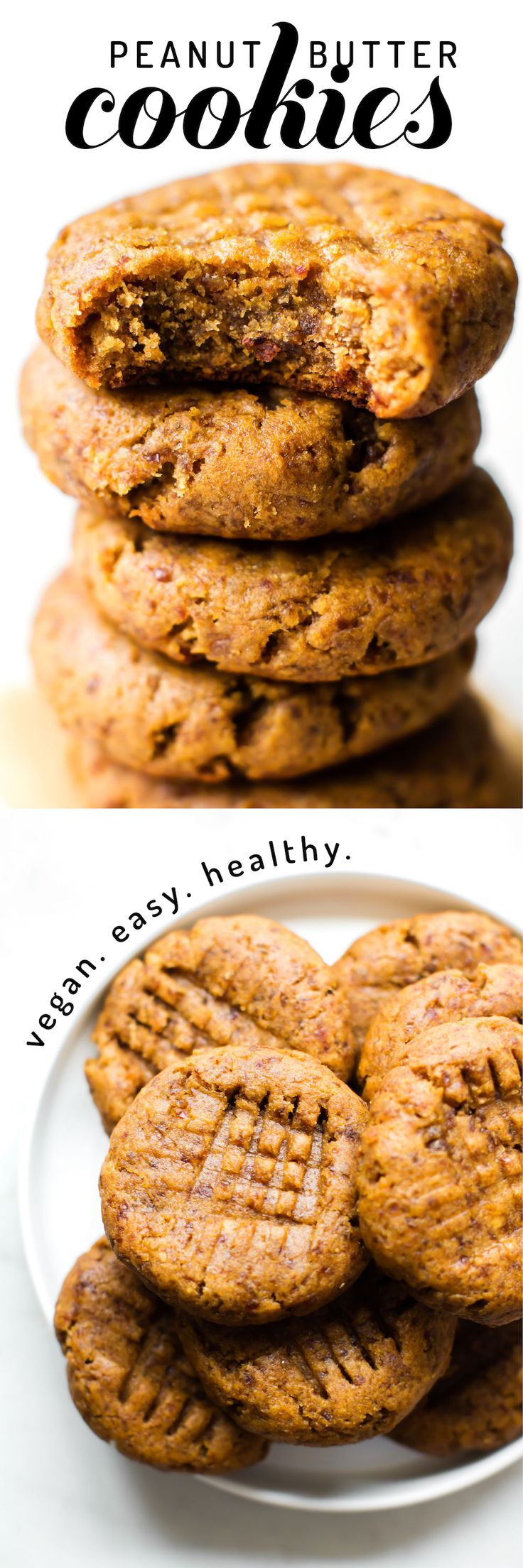 These healthy vegan peanut butter cookies are completely flourless, fruit-sweetened, and egg-free--made with just 5 simple ingredients in under 30 minutes! via @Natalie | Feasting on Fruit