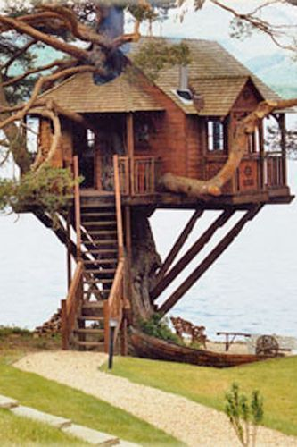 THE TREEHOUSE this delightfully rustic treehouse overlooking Loch Goil in Scotland.