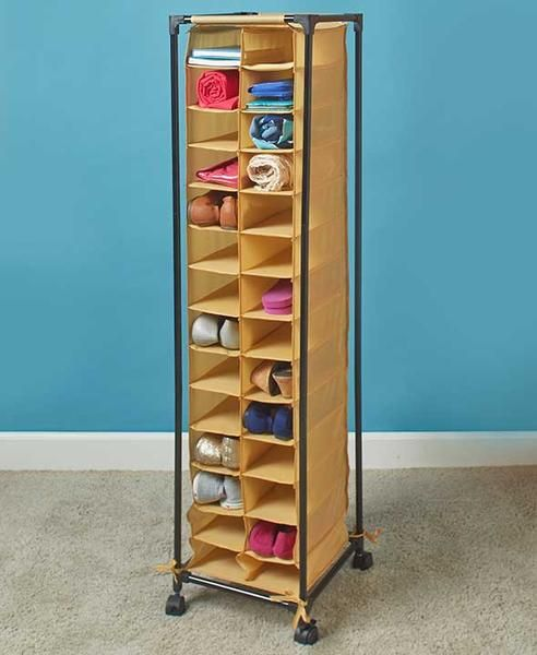 The 28-Pair Fashionable Rolling Shoe Storage unit neatly organizes your footwear. Each pair fits in its own cubby and is easy to find.