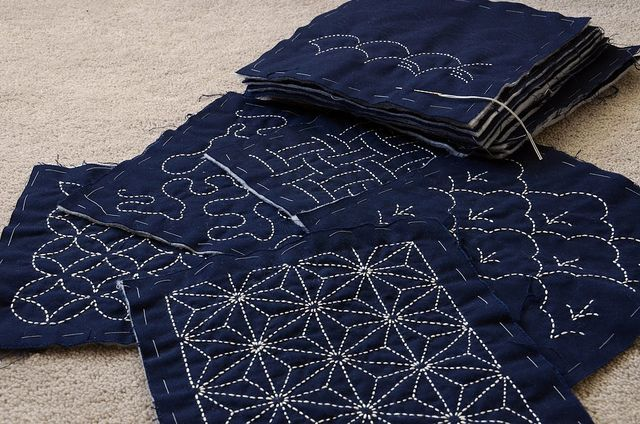 Shannon's First Attempt at Sashiko!   ~it looks like actual quilting, not just embroidery?