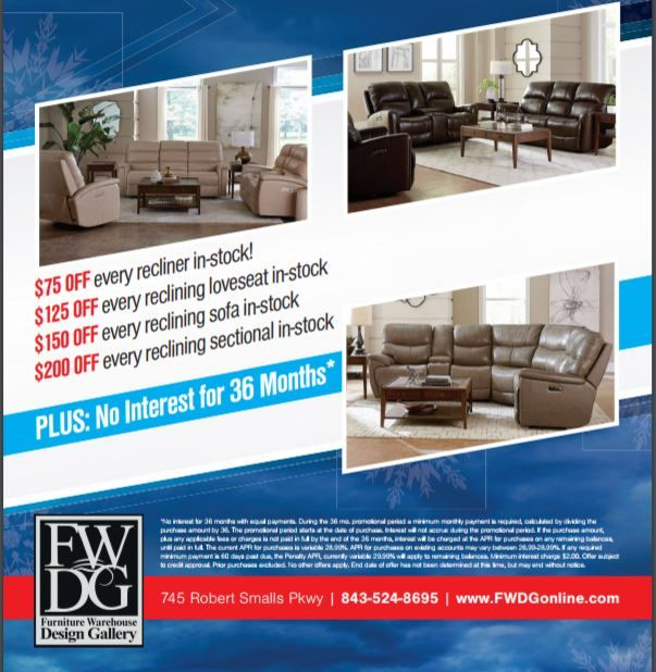 For a limited time, all in-stock reclining furniture is on #SALE at #FWDG. #BeaufortSC