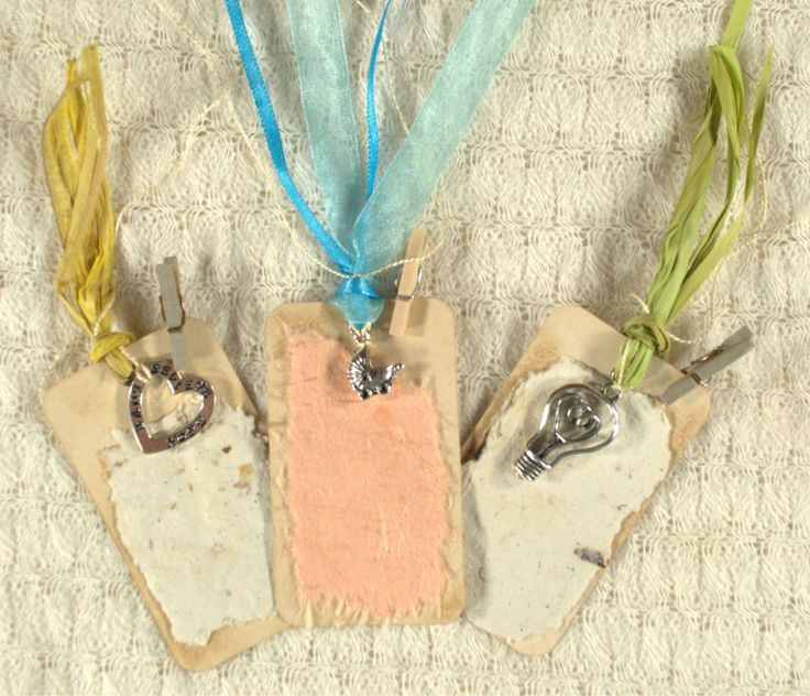 Shabby Chic gorgeous Tea Stained Gift Tags. Value Pack Set of 3. Silver charms. Handmade paper, mini pegs, raffia, ribbon. OOAK.