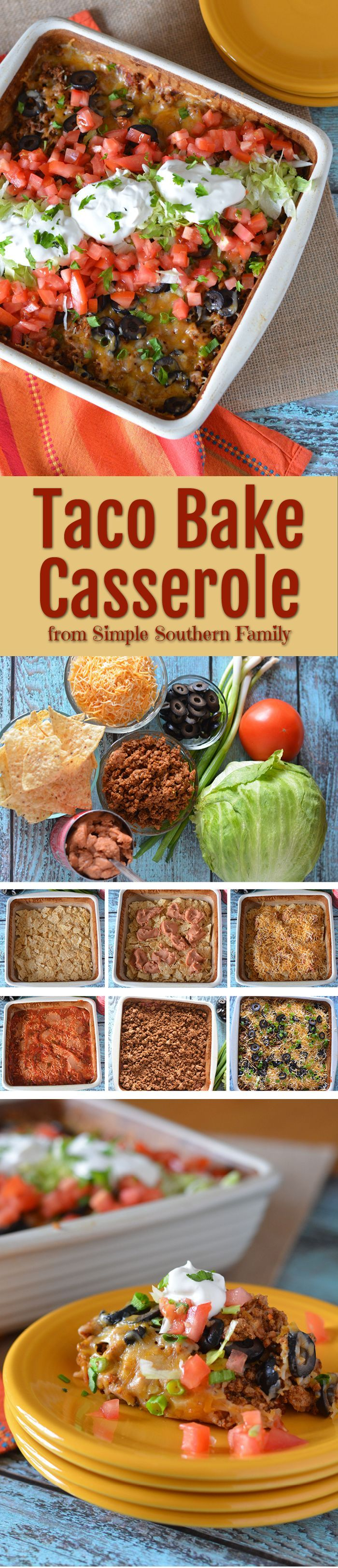 This delicious Taco Bake Casserole will be a family favorite! From Simple Southern Family.