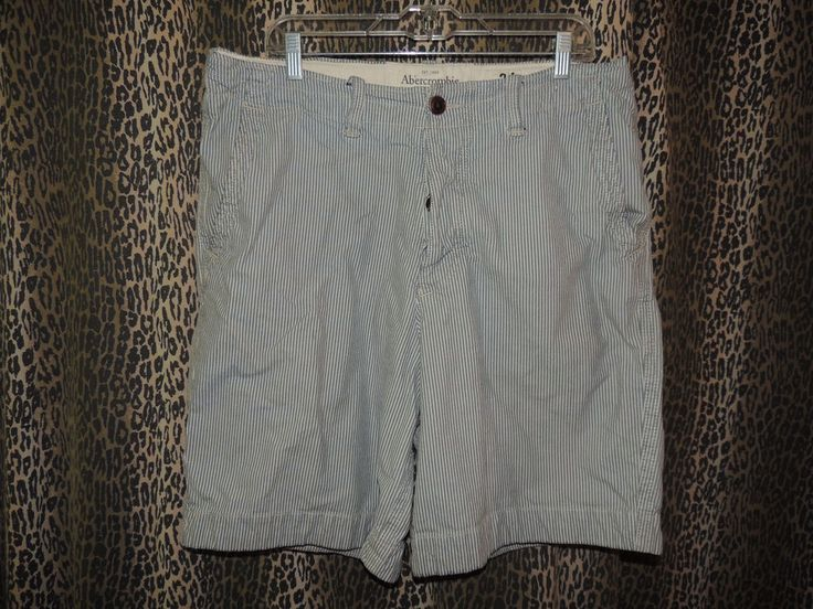 Abercrombie & Fitch Men's Blue & White Striped Button Fly Shorts Size 34 #AbercrombieFitch #CasualShorts