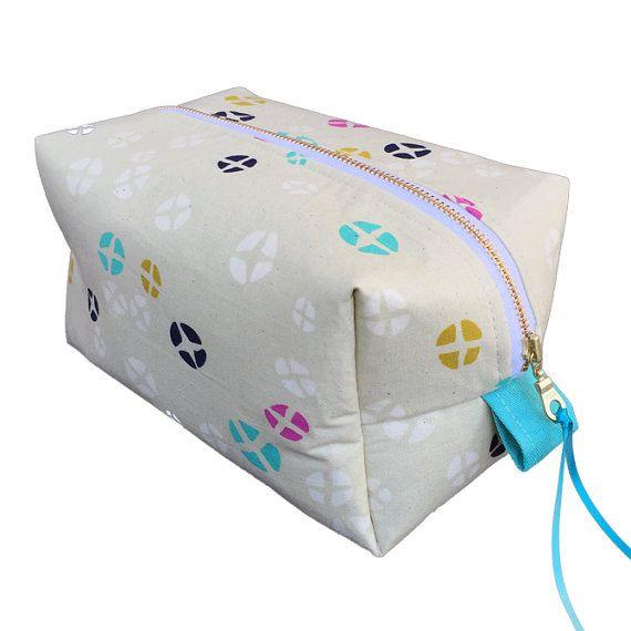 Hot cross buns toiletry bag cream and aqua by PeppaPennyPurses