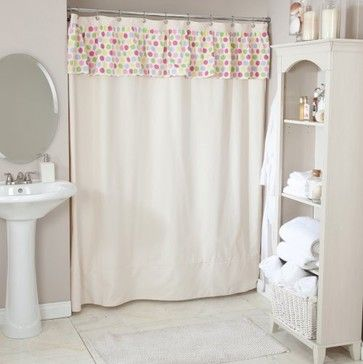 Captivating Saxony Natural Shower Curtain With Spatter Fruiti Valance .