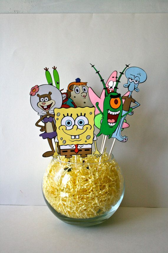 Centerpiece for a birthday party- Spongebob Squarepants characters on Etsy, $45.00