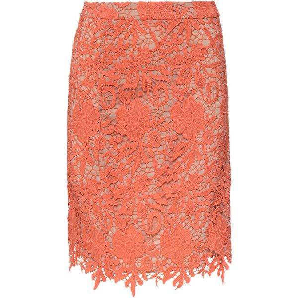 Alice + Olivia Farrel Midi Lace Pencil Skirt ($298) ❤ liked on Polyvore featuring skirts, faldas, coral, pencil skirt, mid calf pencil skirt, red pencil skirt, red knee length skirt and red floral skirt