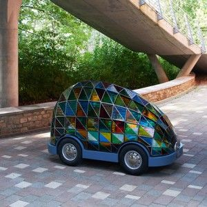 """Dominic Wilcox's """"car of the future"""" is driverless  and made of stained glass"""