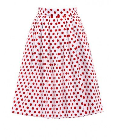 Biela retro sukňa s bodkami