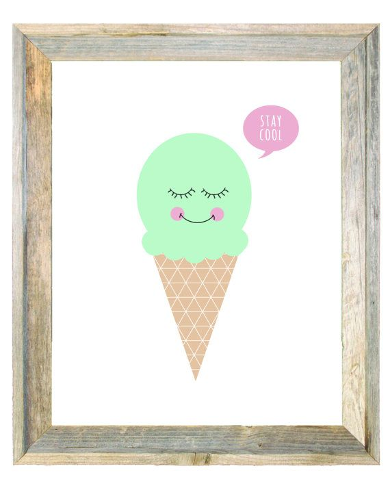 Ice Cream Stay Cool Baby Pink Mint Purple Art by IslaKateDesigns