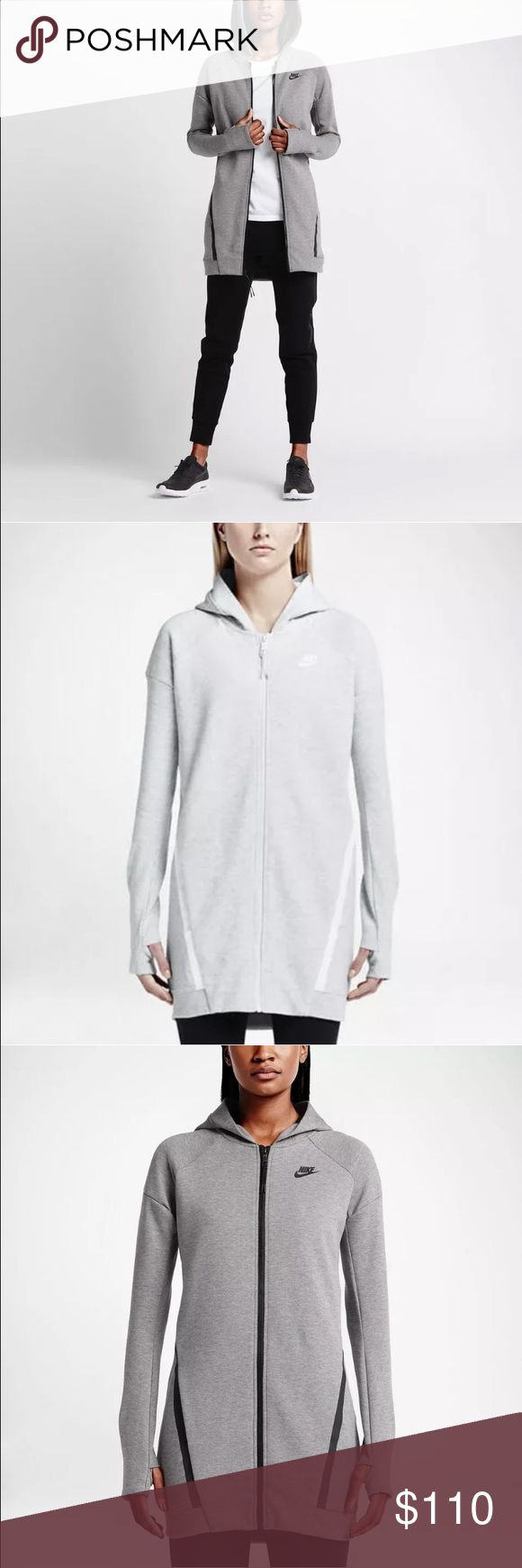 Nike Tech Fleece Mesh Cocoon Womens Jacket NWT WARMTH AND BREATHABILITY  The Nike Tech Fleece Mesh Cocoon Women's Jacket is made with an innovative cotton blend, an elongated silhouette and a mesh back panel for warm coverage and excellent ventilation.     Nike Tech Fleece helps keep you warm and comfortable Mesh panels provide optimal airflow Elongated silhouette enhances coverage Rib trim offers a comfortable, secure fit  Have Black in Size XS S M and L. Gray in size S. Heather White Size…