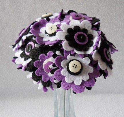 black white purple button bouquet
