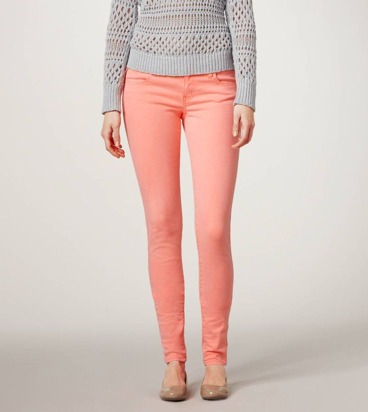 JEGGING  STYLE: 1320-2010   COLOR: 809  $44.50Coral Jeans, Coral Pants, Skinny Jeans, Coral Jeggings, Colors Jeans, Neon Coral, American Eagle Outfitters, American Eagles, Ae Jeggings