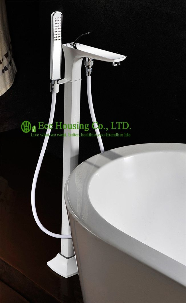 Free Shipping brass floor-standing shower bath mixer,bathtub faucet,white-spray and chrome finished,bathtub accessories