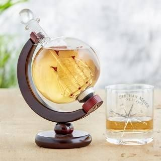 Whisky Set - Karaffe Globus und Whiskyglas - Kompass