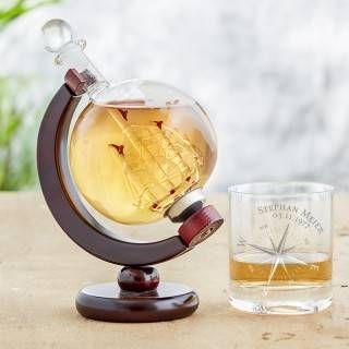 Whisky Set - Karaffe Globus und Whiskyglas - Kompass
