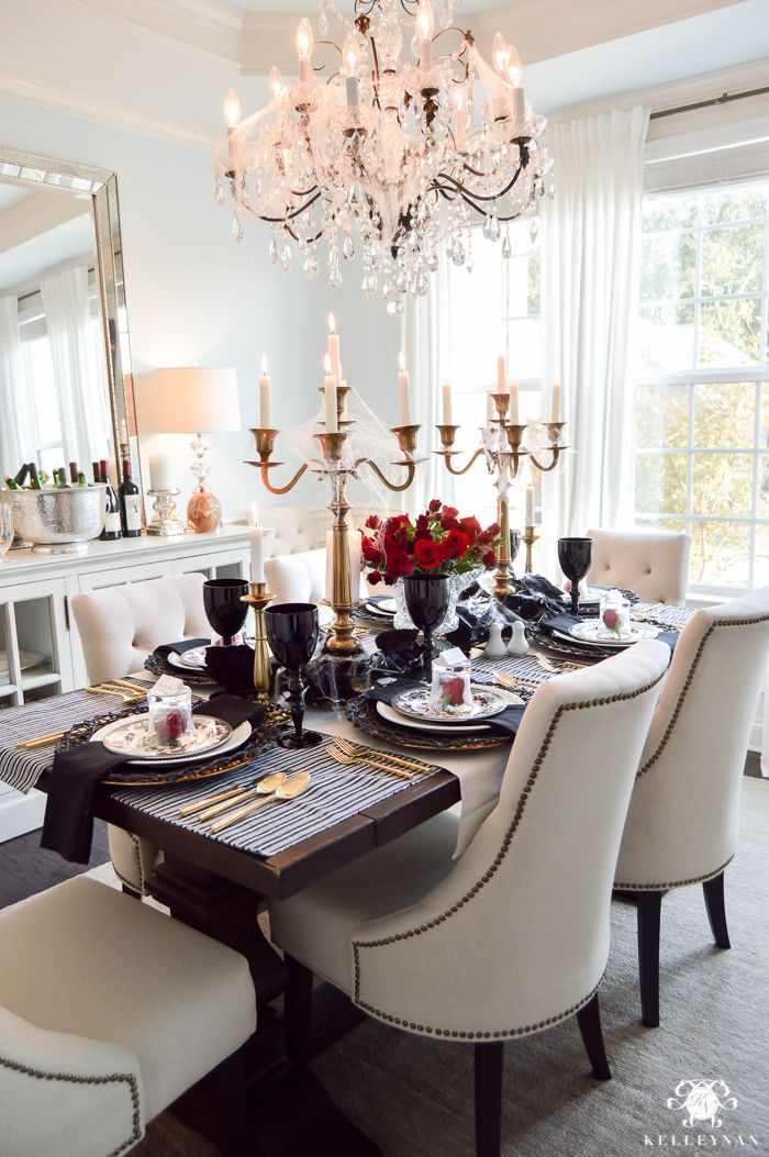 Easy And Elegant Halloween Dining Room With Black Red Spooky Touches Throughout