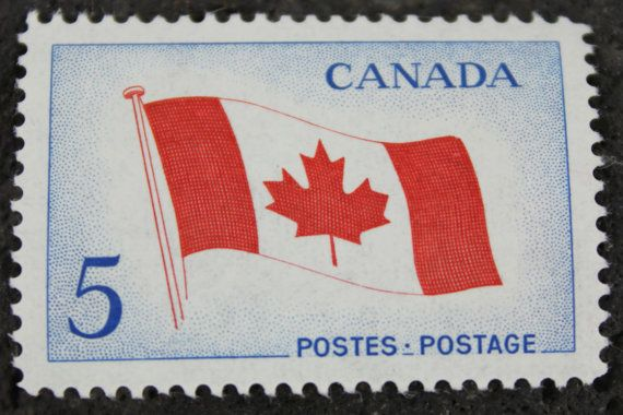 Canadian stamp first issued in 1965 by the Canadian Post. They feature the Canadian flag and have a 5 cent denomination.