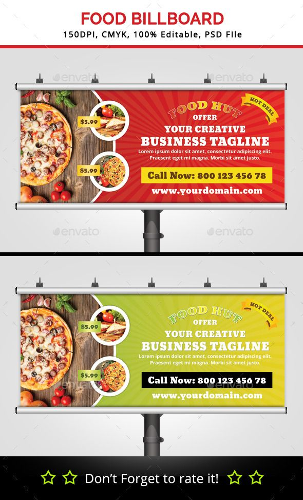 Food Hut Billboard Template #design #print Download: http://graphicriver.net/item/food-hut-billboard-v2/11943605?ref=ksioks